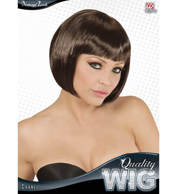perruque courte brune
