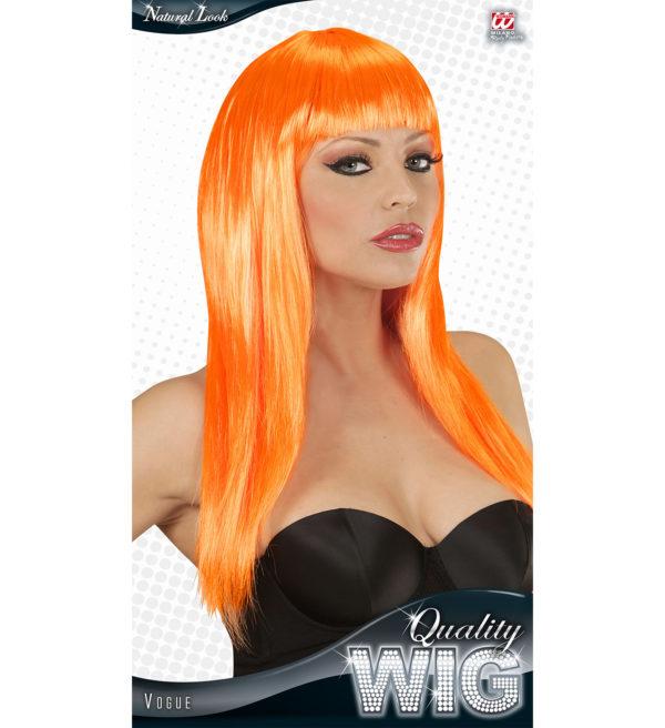 perruque longue orange