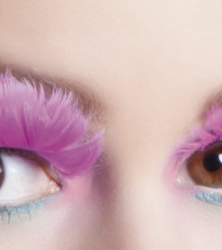 faux-cils plumes roses
