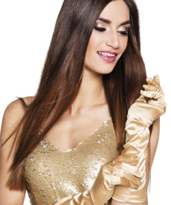 gants longs dorés