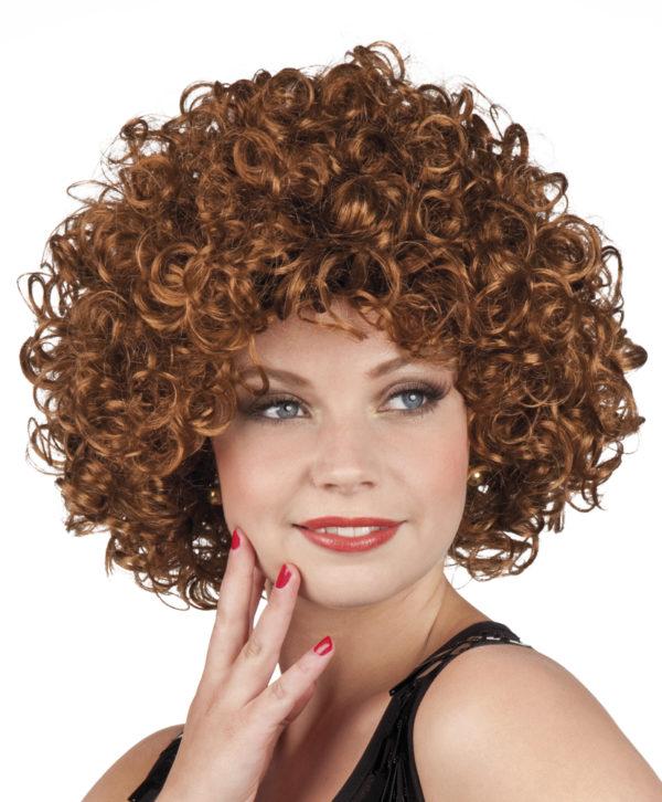 perruque châtain frisée